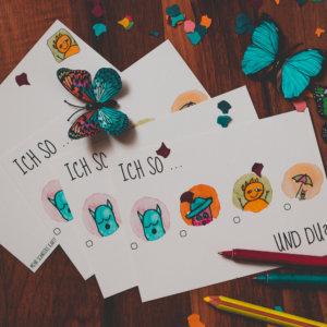 Postkarte: Wesen fragen Dinge: »Ich so ... und du?«