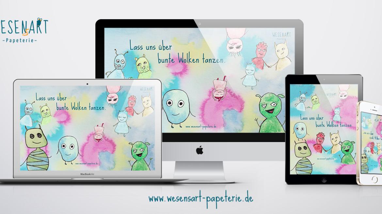 Bild von der Anwendung: WESENsART – Lass uns uns über bunte Wolken tanzen. // Wallpaper-Freebie.