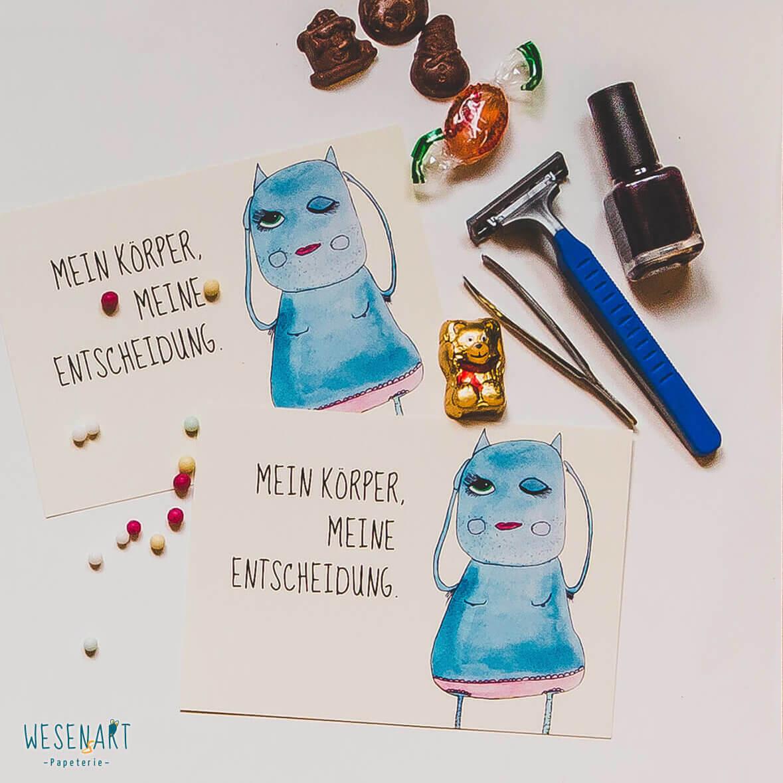 WESENsART // Postkarte Wesen sagen Dinge: »Mein Körper, meine Entscheidung.«