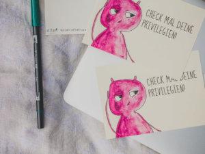 WESENsART // Postkarte Wesen sagen Dinge: »Check mal deine Privilegien.«