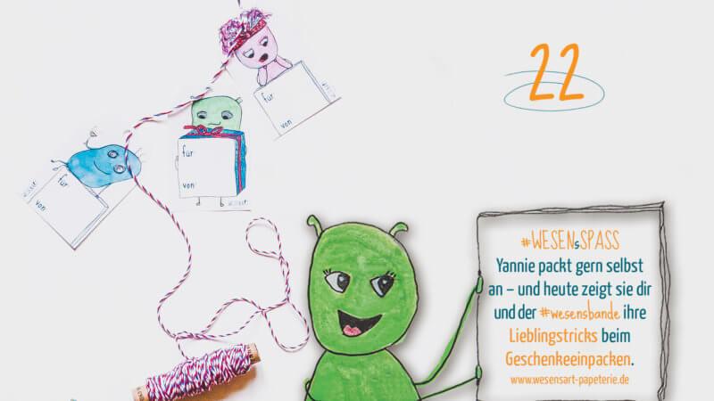 +++ 🤣 22.12.: WESENsSpaß zur Adventszeit 🙃 +++ Yannie packt gern selbst an – und heute zeigt sie dir und der #wesenbande ihre Lieblingstricks beim #geschenke #einpacken