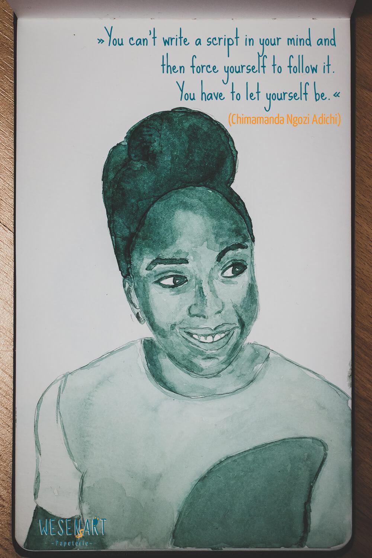 WESENsART: Aquarell-Porträt von Chimamanda Negozi Adichie