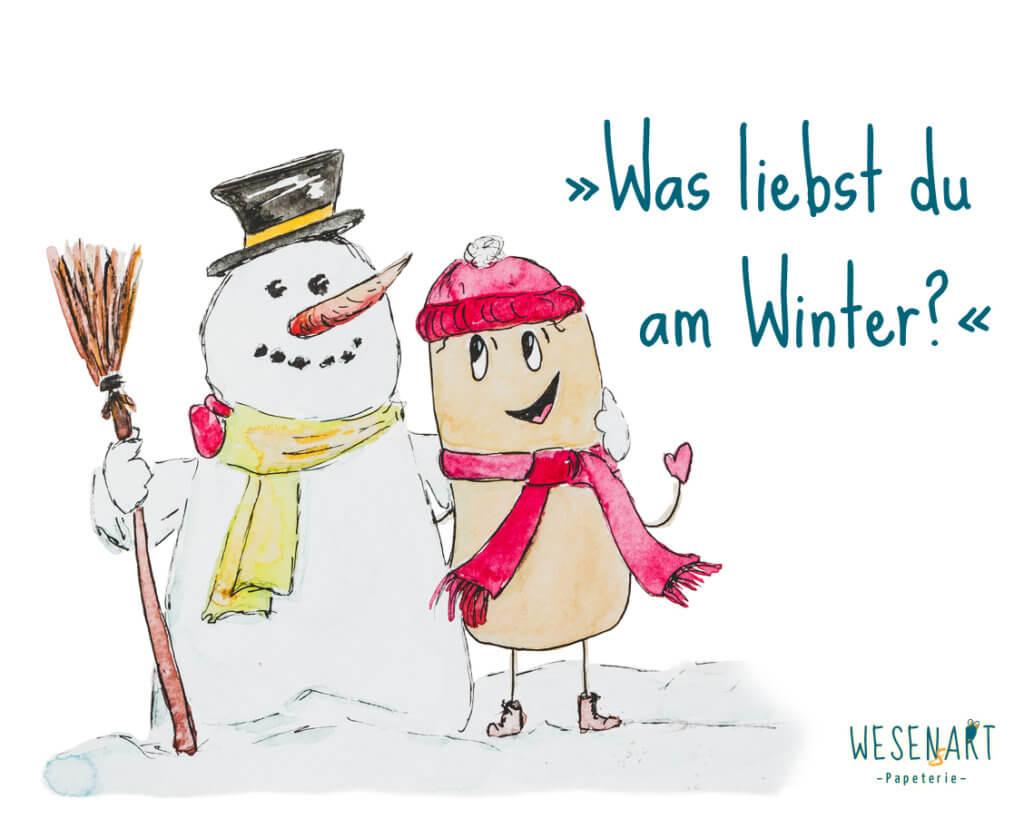 Consti und ein Schneemann umarmen sich