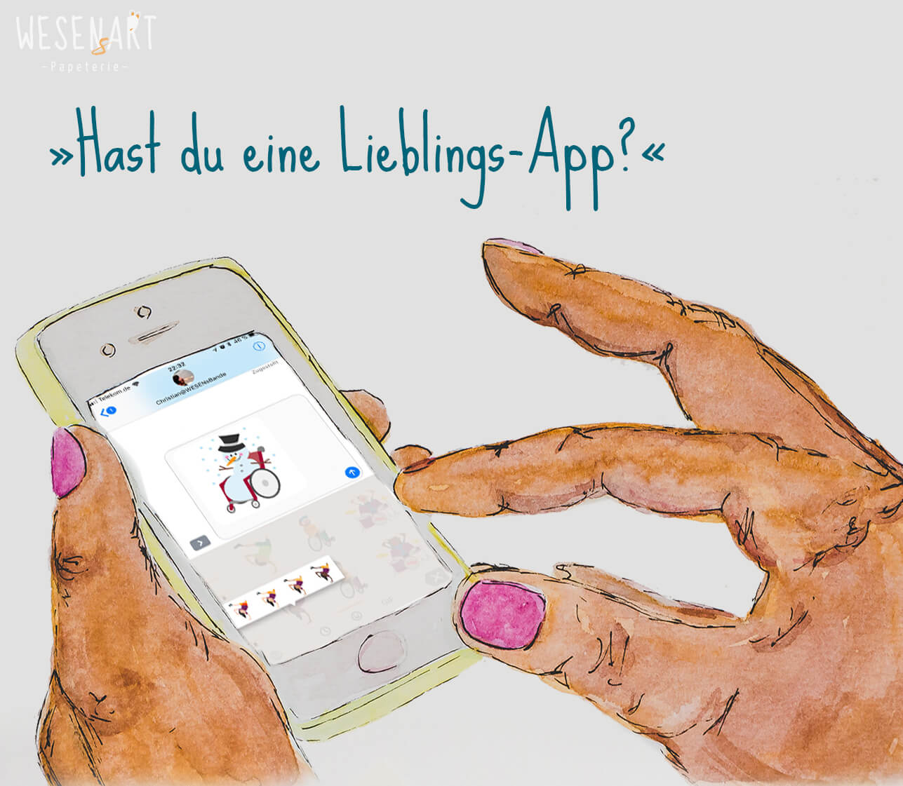 Hände halten Smartphone. Auf dem Display ist die App #inklumoji von Aktion Mensch zu sehen.