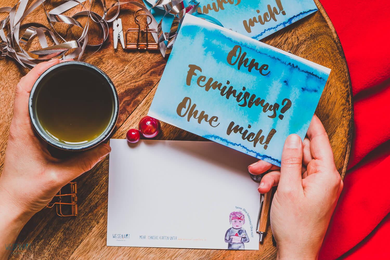 WESENsART-Produktbild: Postkarte: »Ohne Feminismus? Ohne mich!«