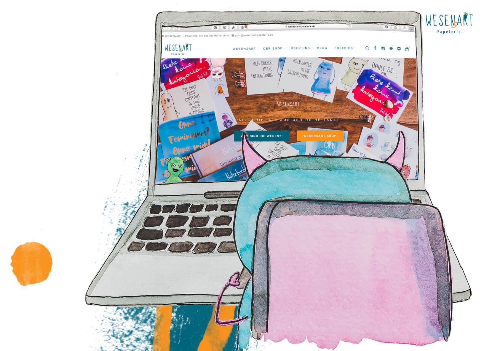 WESENsART: Robyn vor einem Laptop und schaut sich die WESENsART-Website an.
