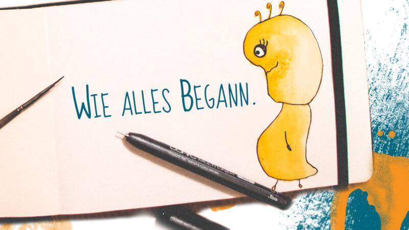Eine Seite aus einem Malbuch. Rechts ist ein gelbes Wesen zu sehen, links daneben steht: Wie alles begann.