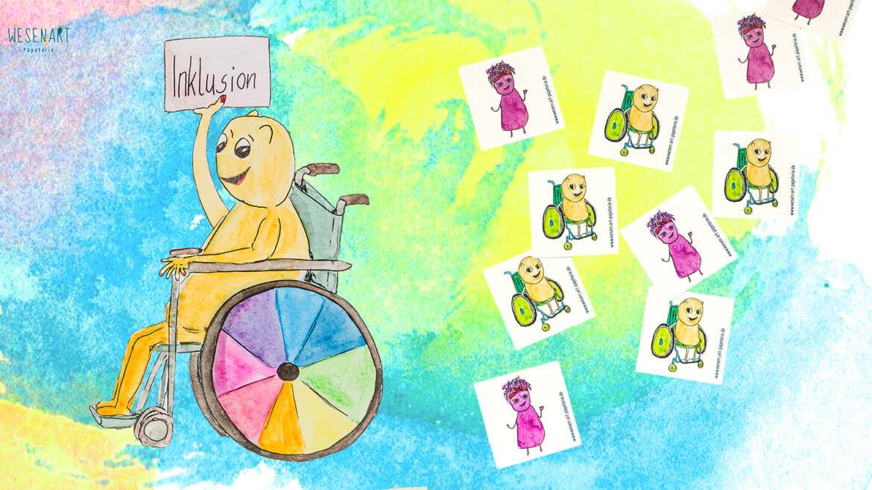Luca links im Bild im Rollstuhl hält ein Schild hoch, wo drauf steht, Inklusion. Daneben sind Aufkleber mit Luca und Yannie
