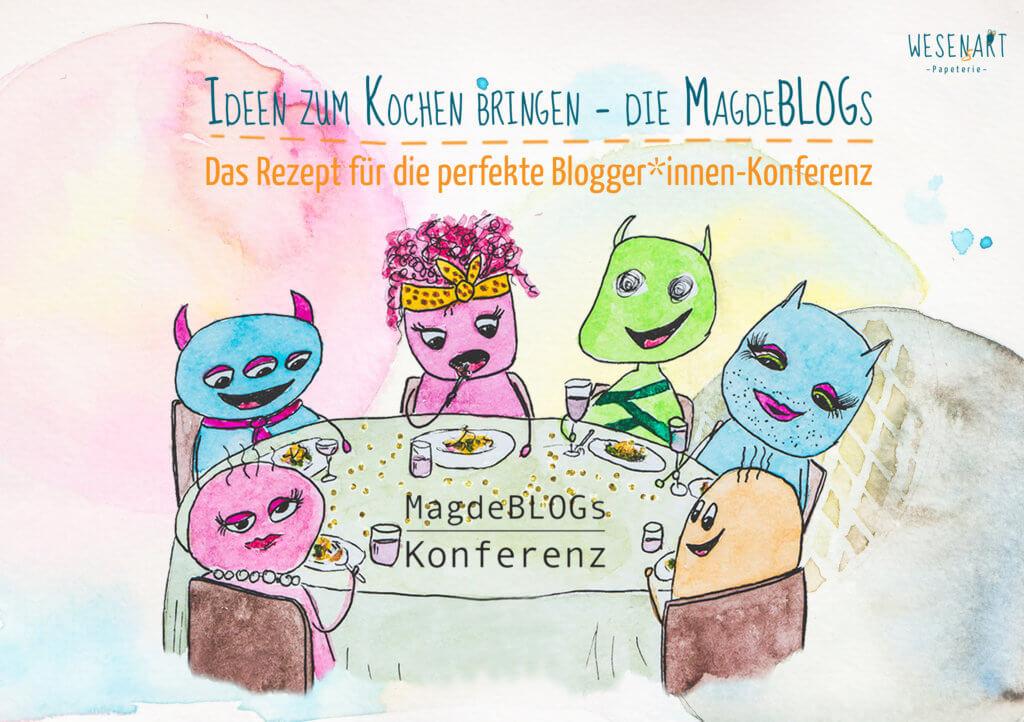 6 Wesen sitzen am Tisch und essen gemeinsam und haben Spaß. Darüber steht: Ideen zum Kochen bringen – die MagdeBLOGs Das Rezept für die perfekte Blogger*innen-Konferenz