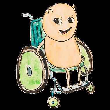 Luca, ein gelbes Wesen, sitzt im Rollstuhl