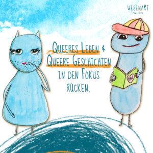 Zwei blaue, knubbelige Wesen sind zu sehen: Ally mit Bartstoppeln und Lippenstift und Alex mit ein Buch über Pansexualität.