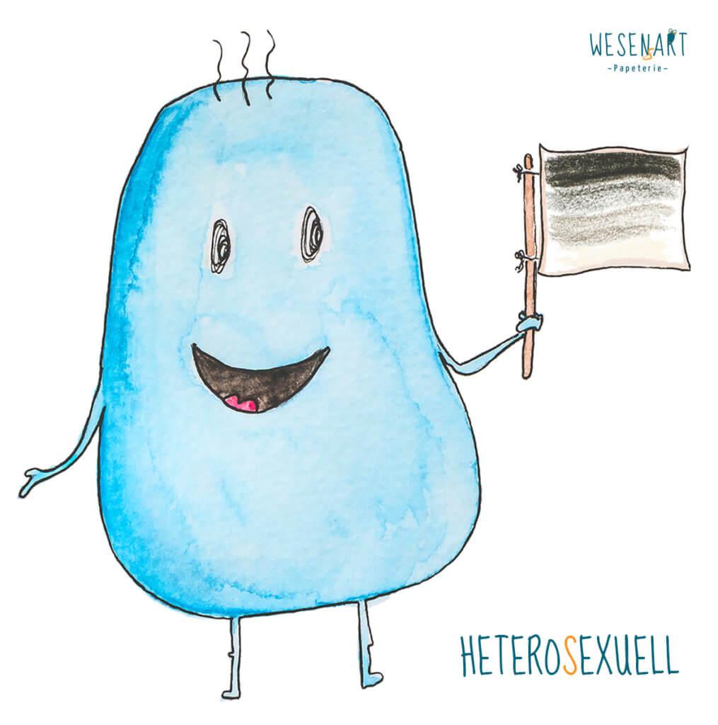 WESENsART – Mika - ein blaues, knubbeliges Wesen hat eine Fahne in der Hand. Die Farbkombination steht für Heterosexuell