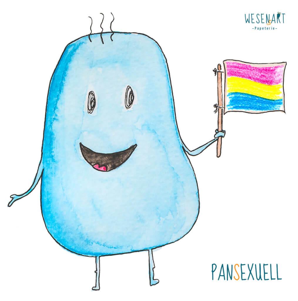 WESENsART – Mika - ein blaues, knubbeliges Wesen hat eine Fahne in der Hand. Die Farbkombination steht für Pansexuell