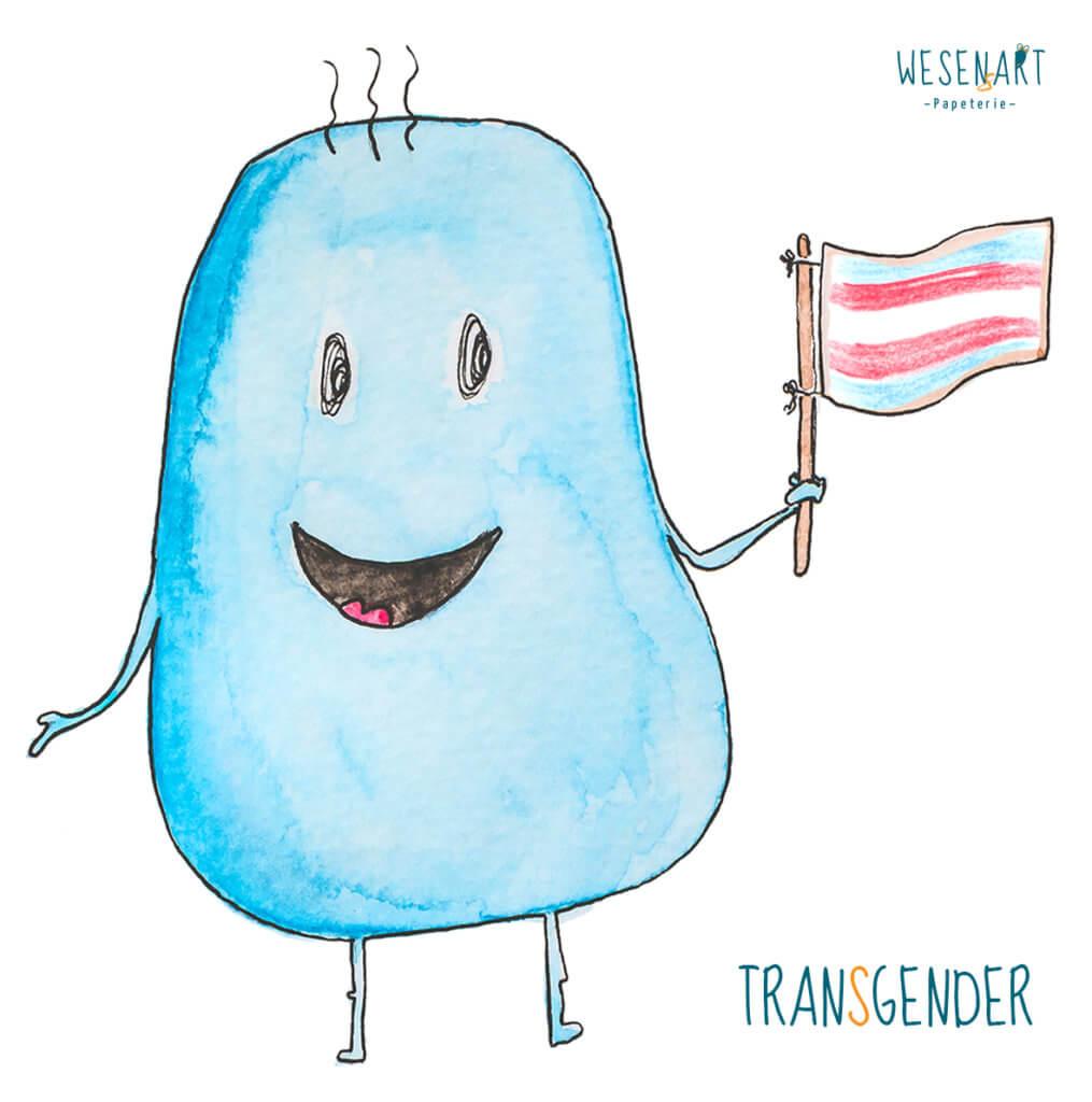WESENsART – Mika - ein blaues, knubbeliges Wesen hat eine Fahne in der Hand. Die Farbkombination steht für Transgender