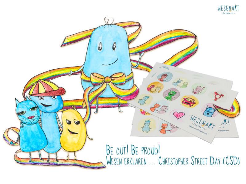 4 Wesen sind mit Regenbogenschleifen umwickelt, daneben ist das Stickerset zu sehen. Darunter steht Wesen erklären ... Christopher Street Day (CSD)