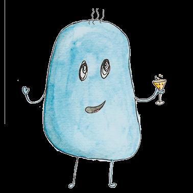 Mika, ein blaues, knubbliges Wesen mit einem Glas in der rechten Hand