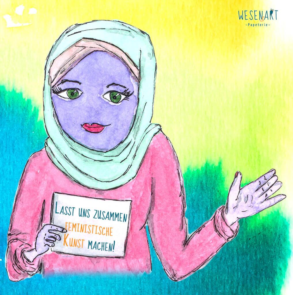 Zafer, ein lila Wesen mit Hijab winkt und hält mit der anderen Hand ein Schild hoch, auf dem steht: »Lasst uns zusammen feministische Kunst machen!