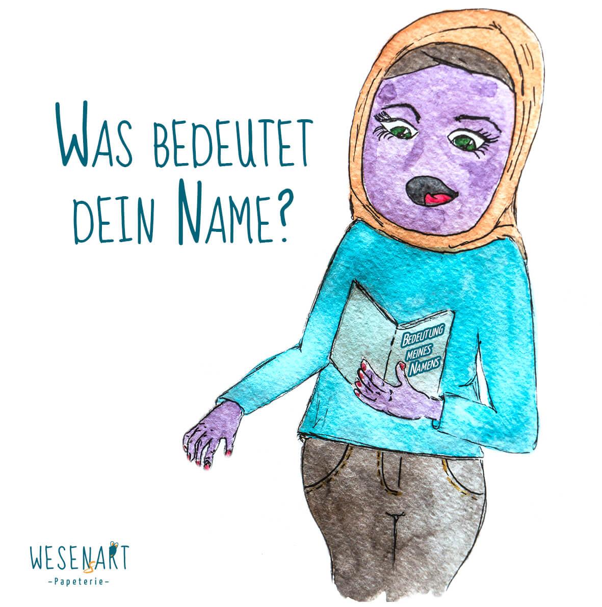 Zafer – ein lila Wesen, mit Hijab liest in einem Buch zum Thema Namensbedeutung. Daneben die Frage: »Was bedeutet dein Name?«