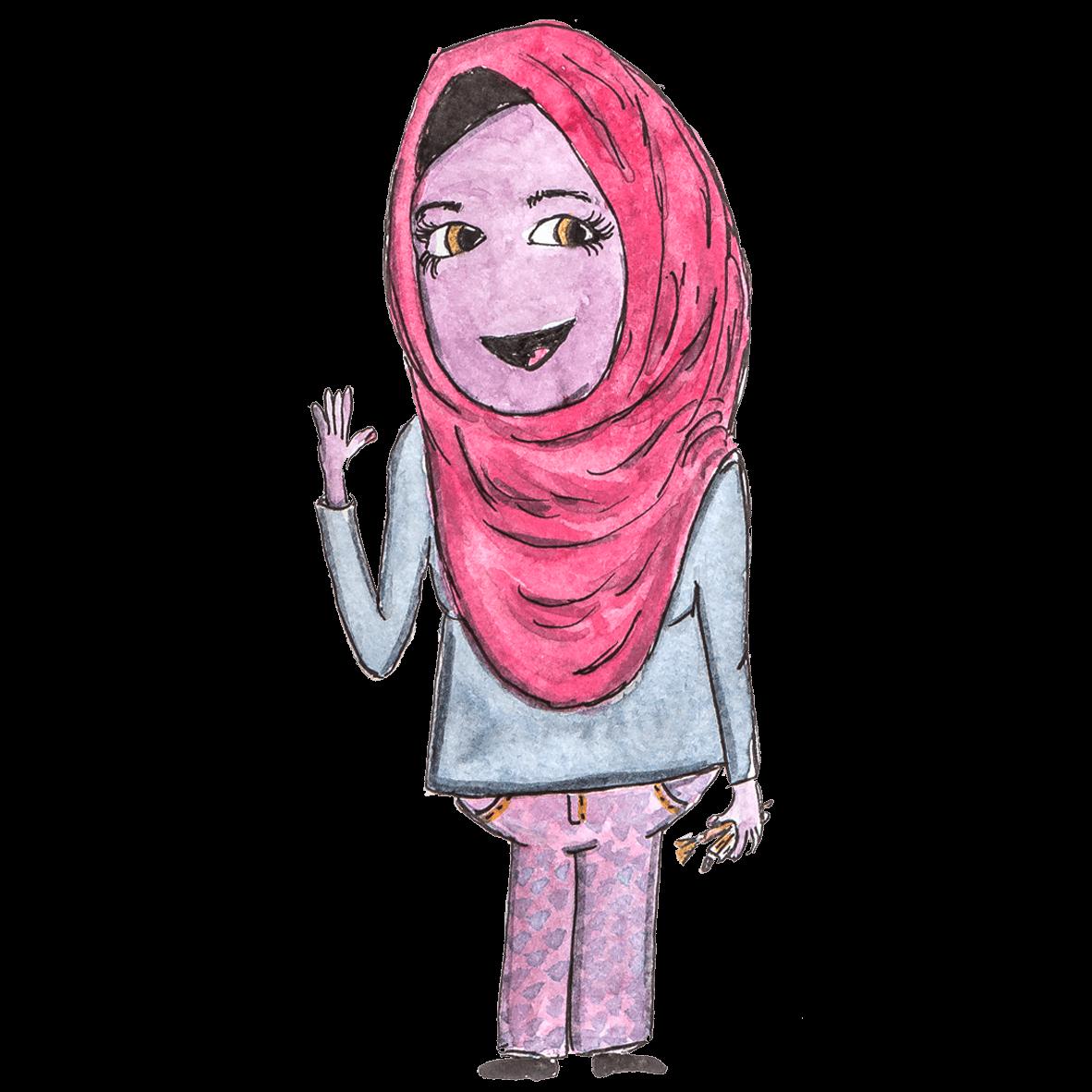 Ein lila Wesen mit rotem Hijab hebt die linke Hand zum Gruß und in der anderen Hand hält sie ein paar Stifte: Iman Shaaban