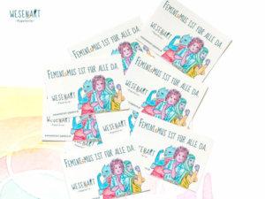 10 Sticker mit ner Botschaft: »Feminismus ist für alle da.«