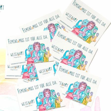 10 Sticker mit ner Botschaft: »Feminismus ist für alle da«