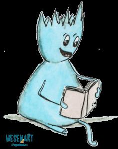 Feministisch lesen. Curly sitzt und liest in einem Buch