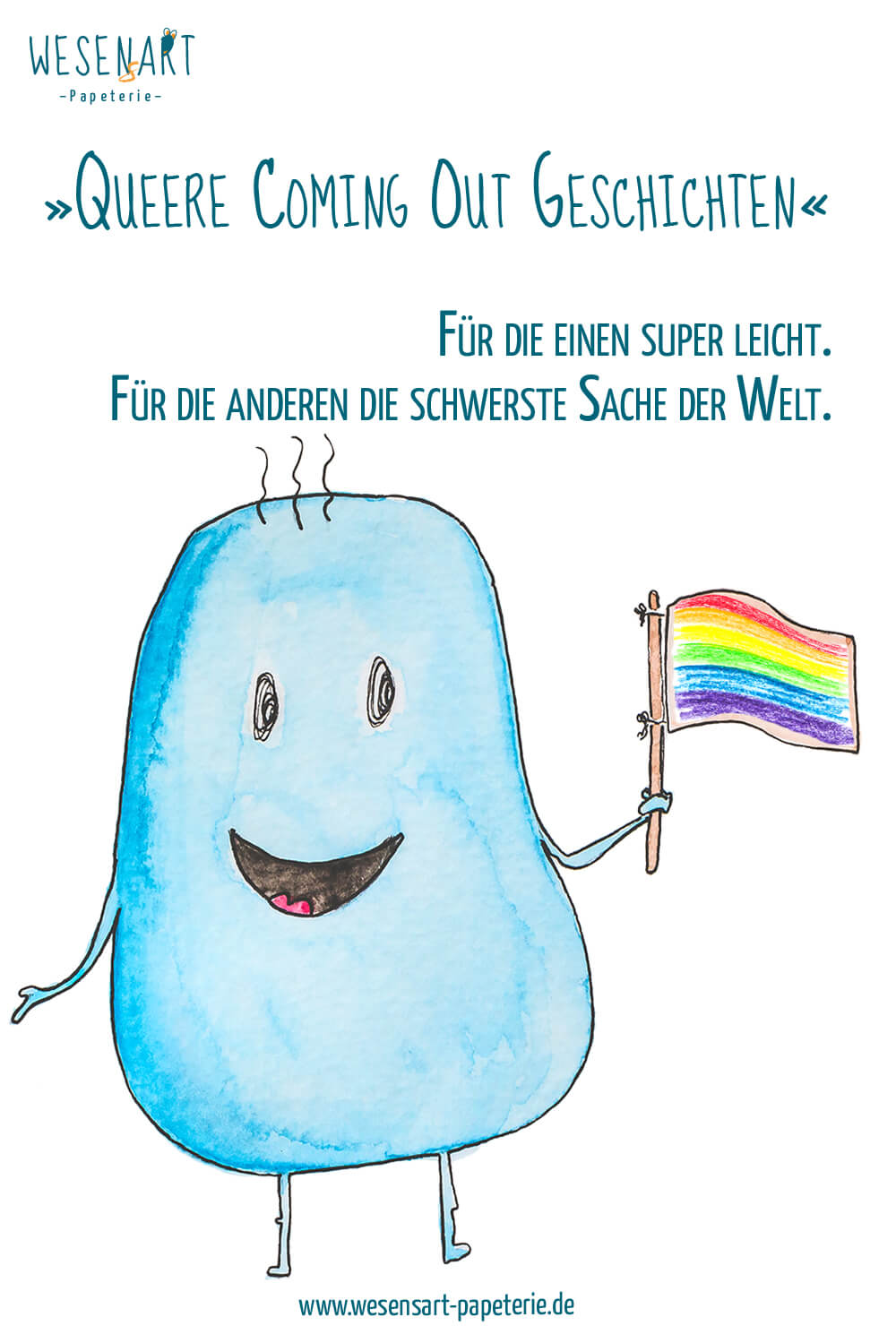 Loui hält ein Pride-Fähnchen in der Hand. Darüber der Text: »Queere Coming Out Geschichten.« Für die einen super leicht. Für die anderen die schwerste Sache der Welt.