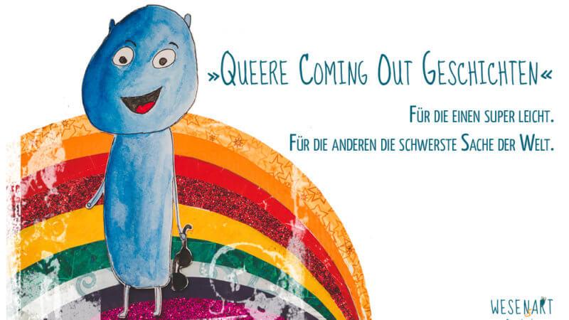 Alex vor einem Regenbogen. Daneben der Text: »Queere Coming Out Geschichten.« Für die einen super leicht. Für die anderen die schwerste Sache der Welt.