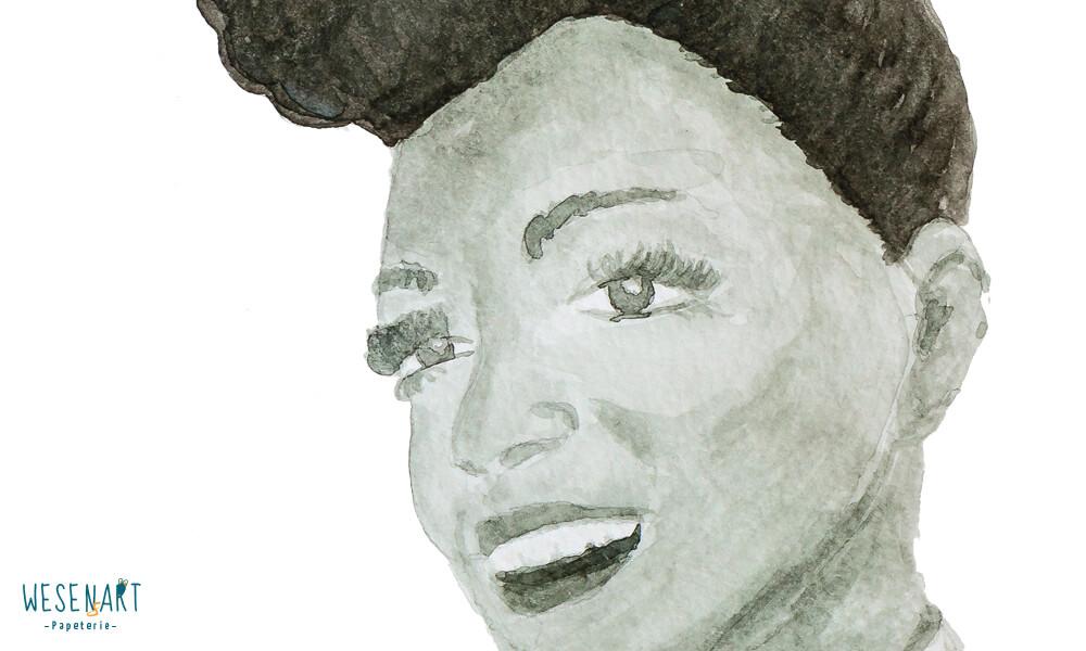 Aquarell-Portrait von Janelle Monáe Auschnitt Gesicht