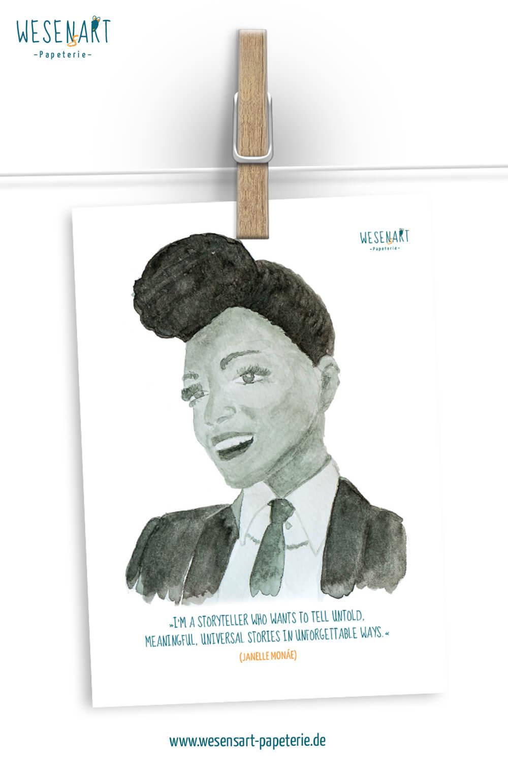 Aquarelle-Portrait von Janelle Monáe mit Zitat