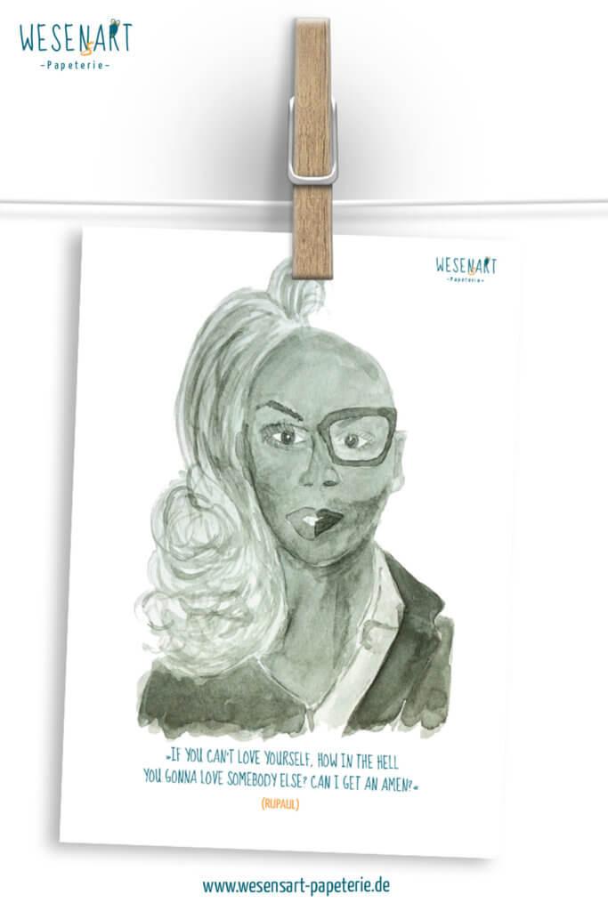 Aquarell Portrait von RuPaul halbseitig mit und ohne Drag.
