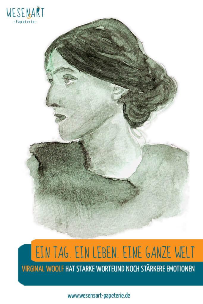 Aquarell Portrait von Virginia Woolf mit Beitragstitel.