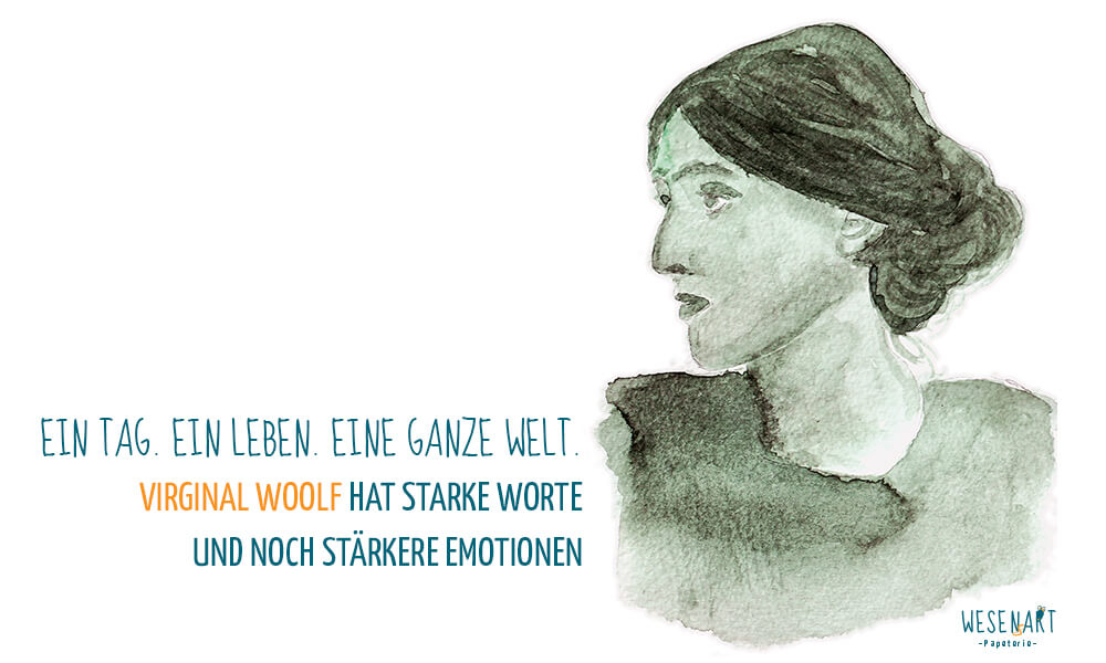 Virginia Woolf Aquarell-Portrait mit Beitragstitel.
