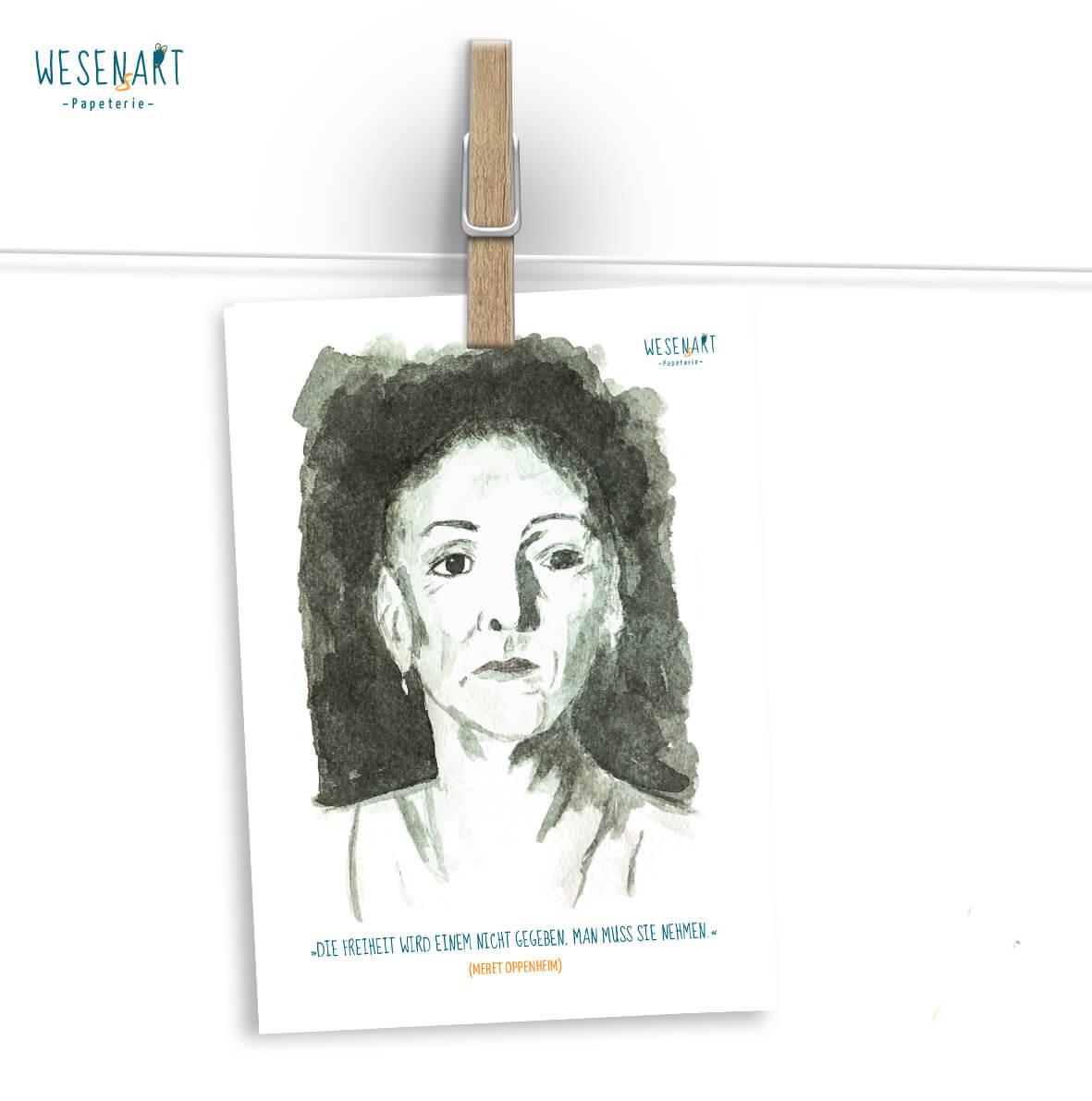 Meret Oppenheim im WESENsART Postkarten-Adventskalender 2018.