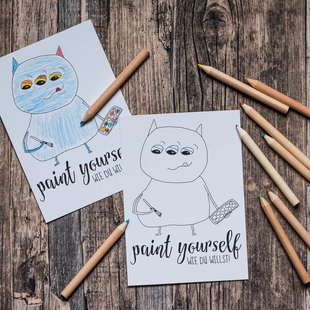 Postkarte »Paint yourself« zum Ausmalen