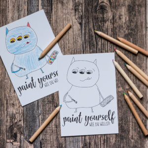 Postkarte »Paint Yourself« zum Ausmalen.