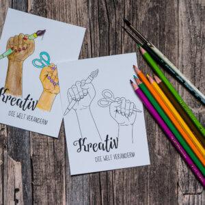 Postkarte »Kreativ die Welt verandern« zum Ausmalen.