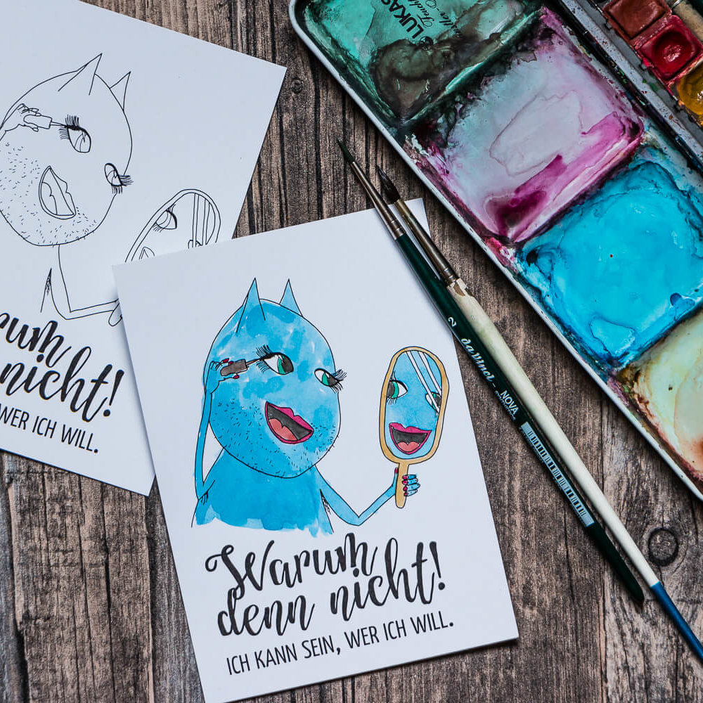 Postkarte »Warum denn nicht!« zum Ausmalen