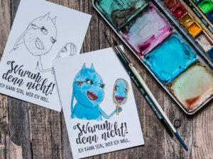 Postkarte »Warum denn nicht!« zum ausmalen.