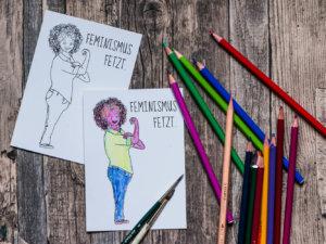 Postkarte »Feminismus fetzt!« zum ausmalen.