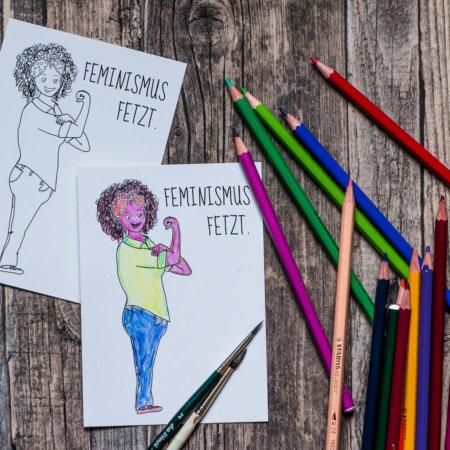 Postkarte »Feminismus fetzt« zum Ausmalen