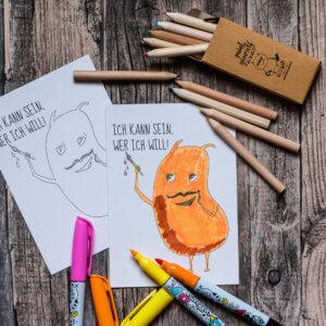 Postkarte »Ich kann sein, wer ich will« zum Ausmalen.