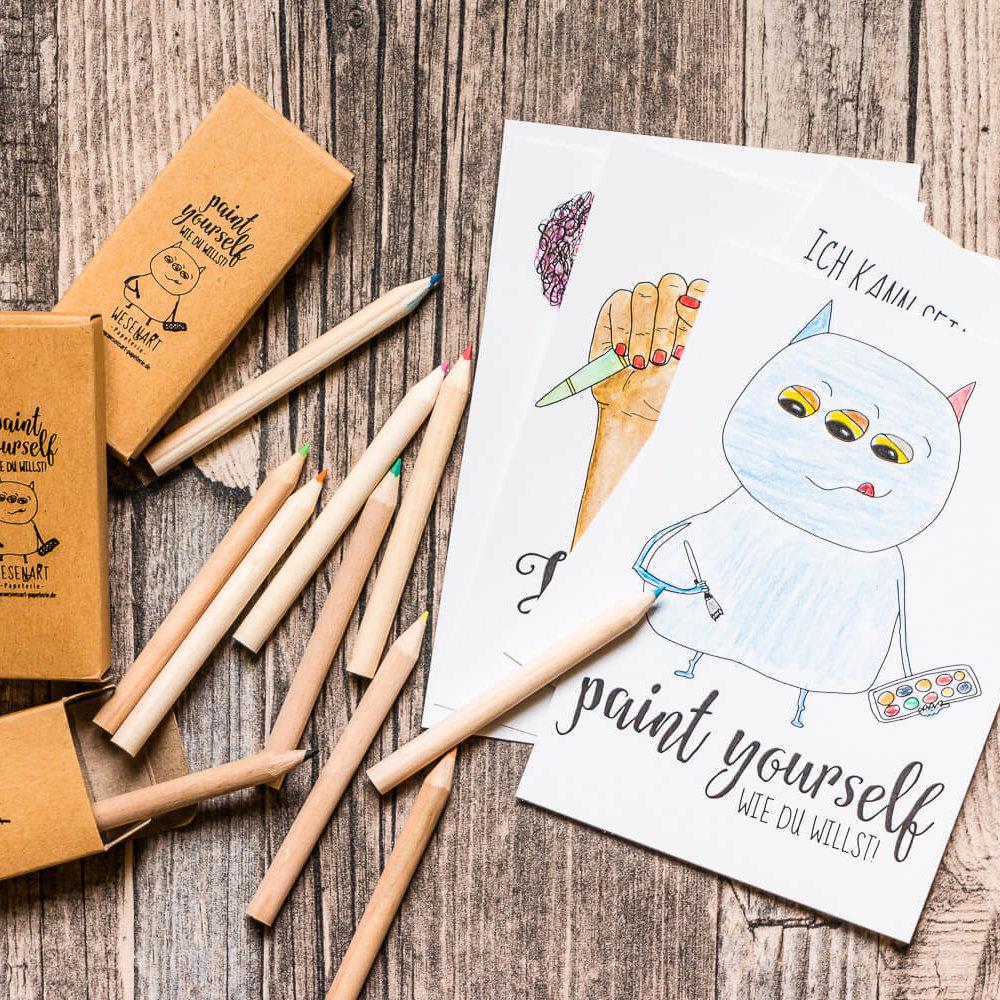 »Paint yourself« Set: Postkarten und Buntstifte zum Ausmalen