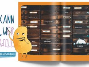 Seite aus dem WESENsART Mal-, Kritzel- und Mitmachbuch »Ich kann sein, wer ich will«