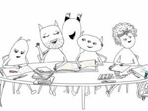 Die Wesensbande sitzt zusammen am Tisch.