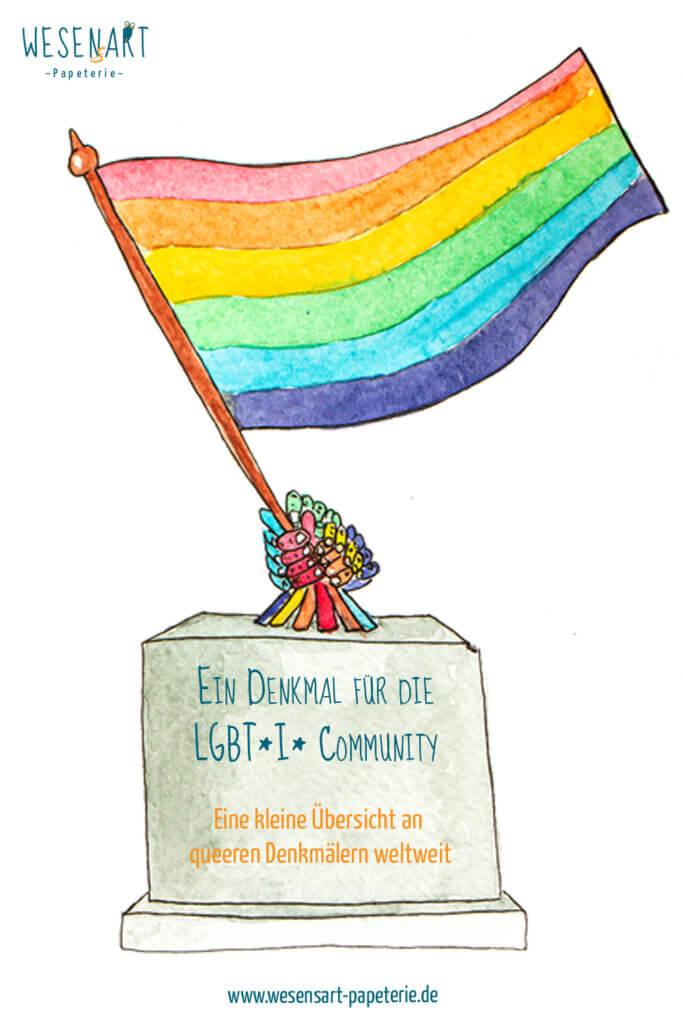 Auf einem Sockel kommen regenbogenfarbene Hände zum Vorschein, die gemeinsam die Regenbogenfahne schwingen. im Sockel steht der Titel des Beitrags.