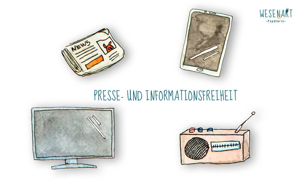 Auf dem Bild steht Presse- und Informationsfreiheit. Rings herum sind eine Zeitung, ein Tablet, ein Fernseher und ein Radio  abgebildet.