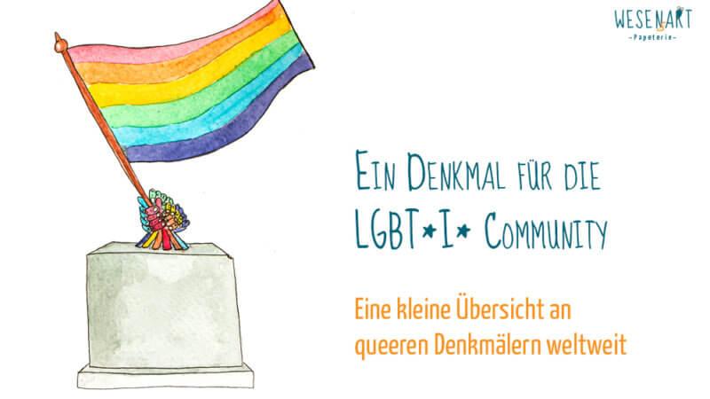 Auf einem Sockel kommen regenbogenfarbene Hände zum Vorschein, die gemeinsam die Regenbogenfahne schwingen. Daneben steht der Titel des Beitrags.