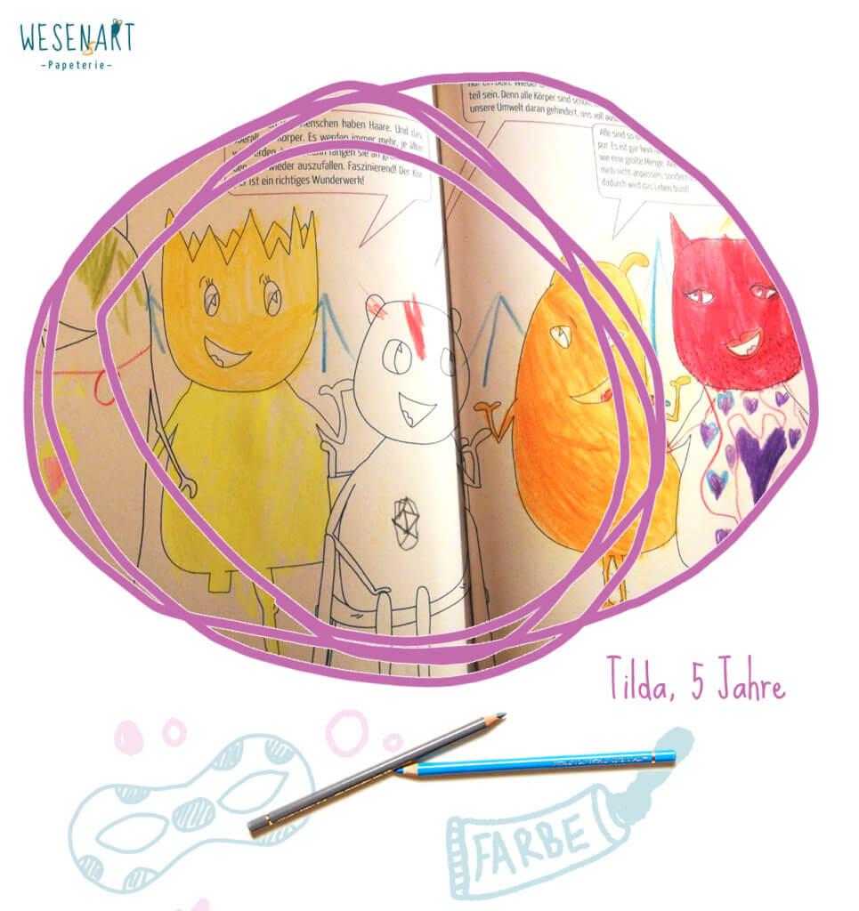 ausgemaltes Bild im Malbuch von Tilda, 5 Jahre