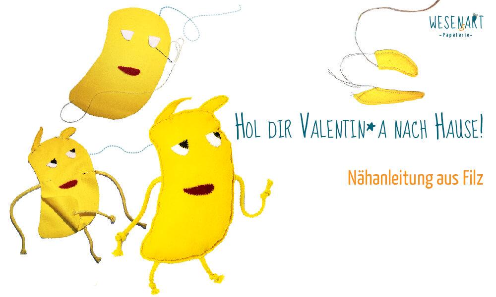 Verschiedene Nähschritte für Valentin*a als Filzwesen und Titelbeschriftung